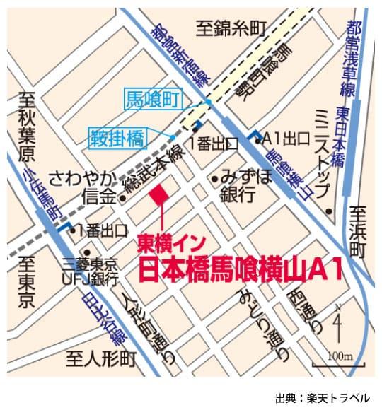 東横イン東京日本橋の地図